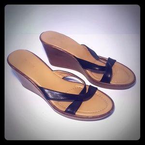 JCREW Black & brown Italian leather wedge sandals